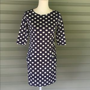 AERIN Navy and White Polka Dot Dress with Pockets